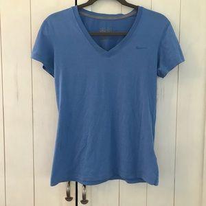Blue Nike Dri-Fit short-sleeve workout shirt